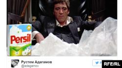 """Müxalifətçi Rustem Adagamov-un Tvitter postunda rişxəndlə deyilir: """"Pendir mafiyası böyüyür"""""""