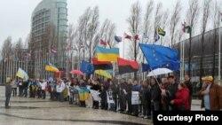 Під час акції в Лісабоні, 9 лютого 2014 року