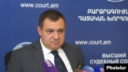 Armenia -- Ruben Vartazarian, head of the Supreme Judicial Council, holds a news conference in Yerevan, September 4, 2019.