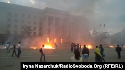 Scores of people died in a blaze in Odesa in may 2014 that was apparently set off by firebombs thrown inside a building where they had sought refuge amid street fighting. (file photo)