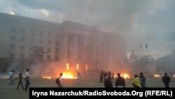 Початок пожежі в Будинку профспілок, Одеса, 2 травня 2014 року