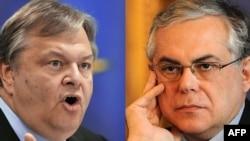 Европа Үзәк банкы башлыгының элекке урынбасары Лукас Пападемос (c) һәм Грециянең хәзерге финанс министры Евангелос Венизелос (у)