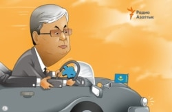 Kazakhstan - President pf Kazakhstan Kassym-Zhomart Toqayev as head of the state - caricature by Galym Smagululy