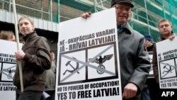 Акция протеста накануне марша ветеранов Латышского легиона. Рига, март 2016 года
