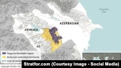 Нагірний Карабах: фіалковий – первісна територія автономної області; жовтий – фактично захоплена вірменами територія