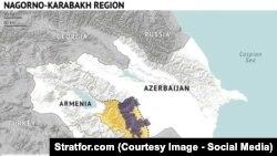Ljubičasto (regija Nagorno-Karabaha), žuto (teritorija koju kontroliše Jermenija)