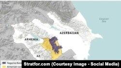 Картадағы Армения мен Әзербайжан және Таулы Қарабақ аумағы.
