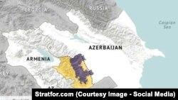Армения мен Әзербайжан картасы. (Көрнекі сурет)