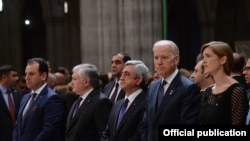 Armenian President Serzh Sarkisian (center), U.S. Vice-President Joseph Biden (second from right), and U.S. Ambassador to the UN Samantha Power (right) were among the dignitaries attending a ceremony commemorating the massacre of Armenians in 1915.