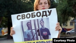 A lone protester in Rostov vowing for acquital of Oleg Sentsov and Alexander Kolchenko