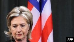 Госсекретарь США Хилари Клинтон на пресс-конференции, Москва, 19 марта 2010 года