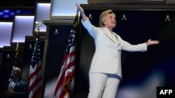 Hillary Clinton në Konventën Kombëtare Demokrate ku u nominua për presidente amerikane