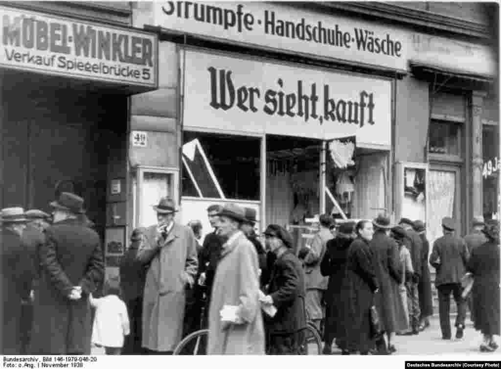 A damaged Jewish shop in Magdeburg, November 1938.