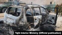 На месте атаки предполагаемых боевиков на пограничную заставу в Таджикистане. Фото распространены министерством внутренних дел. 6 ноября 2019 года.
