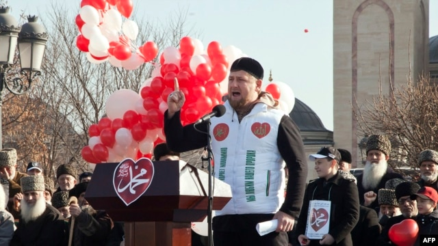 Chechen leader Ramzan Kadyrov speaks at a rally in Grozny on January 19 against the publication of cartoons of the Prophet Muhammad by French weekly Charlie Hebdo.