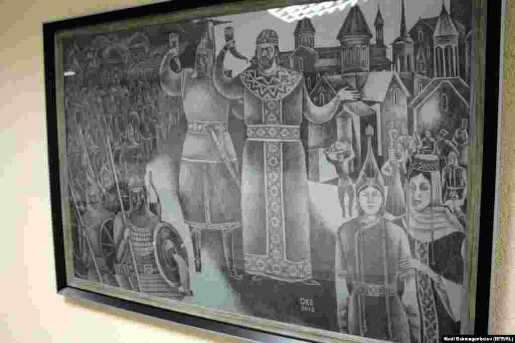 """""""Грузин патшасы Давид пен қыпшақ ханы Ахмет"""" картинасы. Астана, 17 қыркүйек 2015 жыл."""