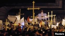 Христианский марш протеста в Каире. 9 октября 2011 г