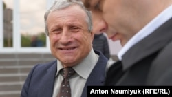 Crimean journalist Mykola Semena outside a court in Simferopol last month.