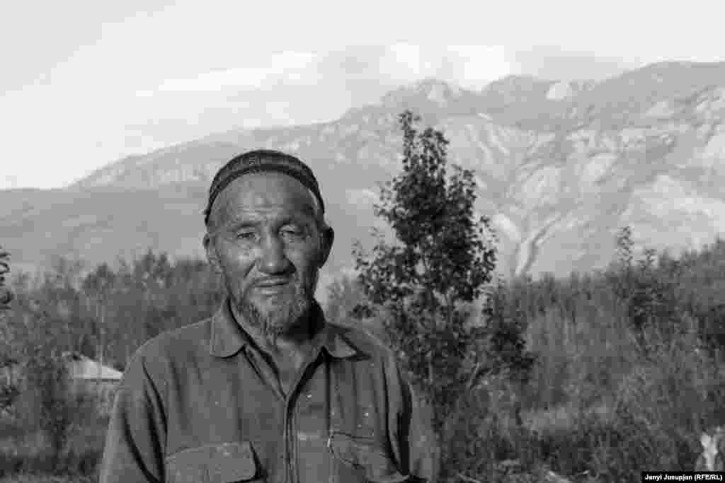 Aldakul Tairov, 75, grows and sells trees with the help of his children and grandchildren. Although he stopped studying after elementary school, he has an aptitude for languages, speaks Kyrgyz in the literary style, and writes poetry, songs, and pamphlets. His father was reknowned as a player of buzkashi, a sport in which horsemen try to carry a goat carcass toward a goal.