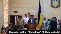 Одесский областной совет (на трибуне - губернатор Михаил Саакашвили) (17 июня 2016 года)