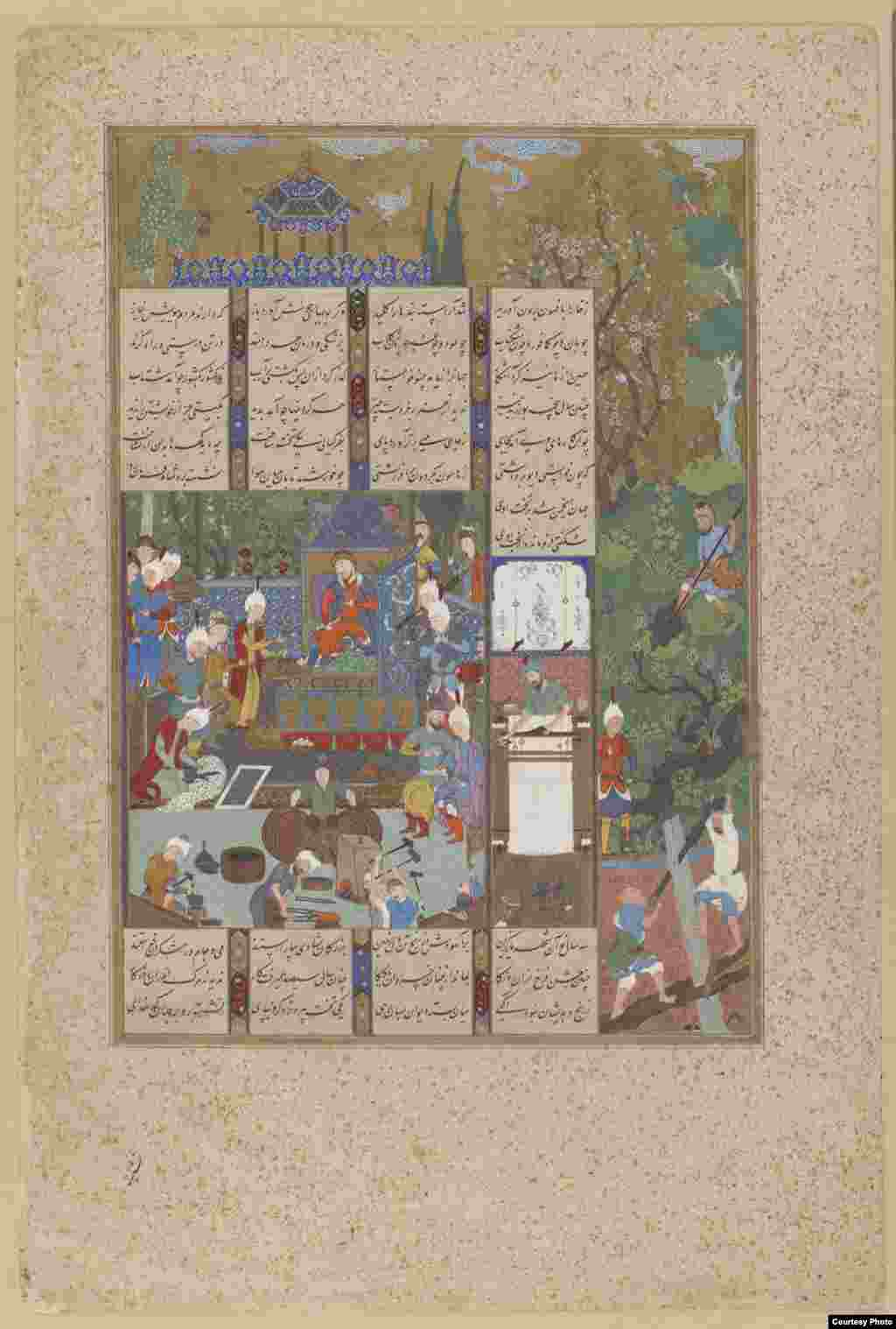 "The opulent court of King Jamshid, who, as the legend has it, ruled for 700 years. ""The Court Of Jamshid,"" Tabriz, Iran, circa 1520s, from ""The Shahnameh"" (Book of Kings) by Firdawsi Photos courtesy of the Smithsonian Institute, Washington, D.C."
