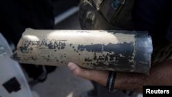 Остаток снаряда, прилетевшего из Газы на территорию Израиля