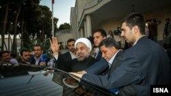 حسن روحانی در کاخ ریاست جمهوری، پیش از ترک تهران به مقصد نیویورک