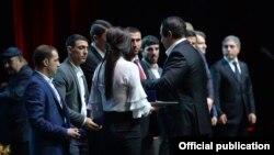 Armenia - Gagik Tsarukian, chairman of the National Olympic Committee, hands awards to prominent Armenian athletes at an annual ceremony near Yerevan, 27Dec2017.