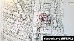 Касьцёл сьвятога Антонія ў пляне забудовы Віцебска на гістарычным месцы, калі яго перанесьці