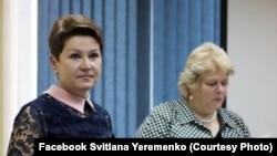 Світлана Єременко та Марта Коломиєць на презентації книги «Терикони під літаком» у фундації Фулбрайта, Київ