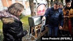 Protest protiv političkog pritiska na RTV Crne Gore, Podgorica, 27. decembar 2017