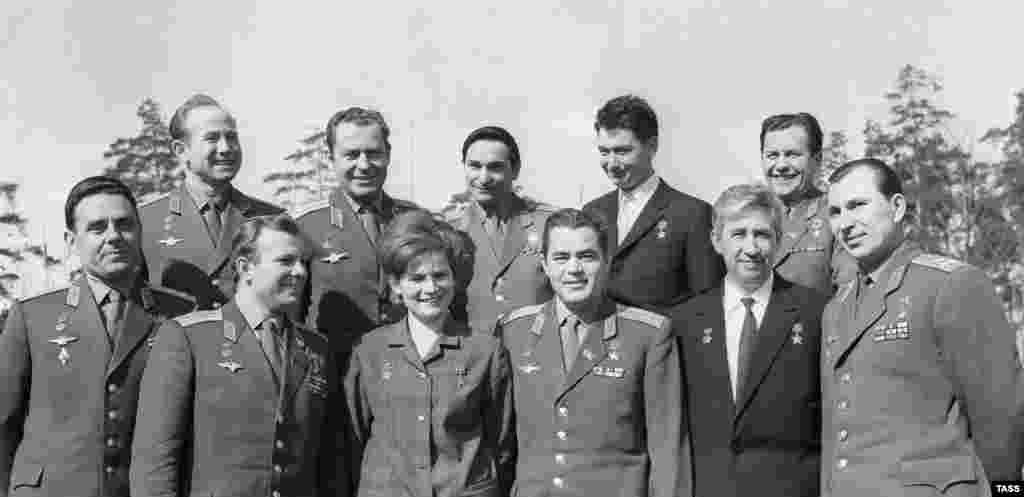 Soviet astronauts (left to right): Vladimir Komarov, Aleksei Leonov, Yuri Gagarin, Gherman Titov, Valentina Tereshkova, Valery Bykovsky, Andrian Nikolayev, Boris Yegorov, Konstantin Feoktistov, Pavel Popovich, Pavel Belyayev.