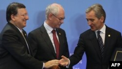 Jose Manuel Barosso, Herman Van Rompuy și Iurie Leancă, Bruxelles, 27 iunie 2014