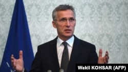 NATO Secretary-General Jens Stoltenberg at a news conference in Kabul on November 6