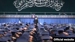Iranian Supreme Leader Ayatollah Ali Khamenei gives a speech on February 8 marking the 40th anniversary of the 1979 revolution.