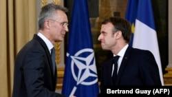 Էմանյուել Մակրոնը և Յենս Ստոլտենբերգը համատեղ ասուլիսից հետո, Փարիզ, 28-ը նոյեմբերի, 2019թ.