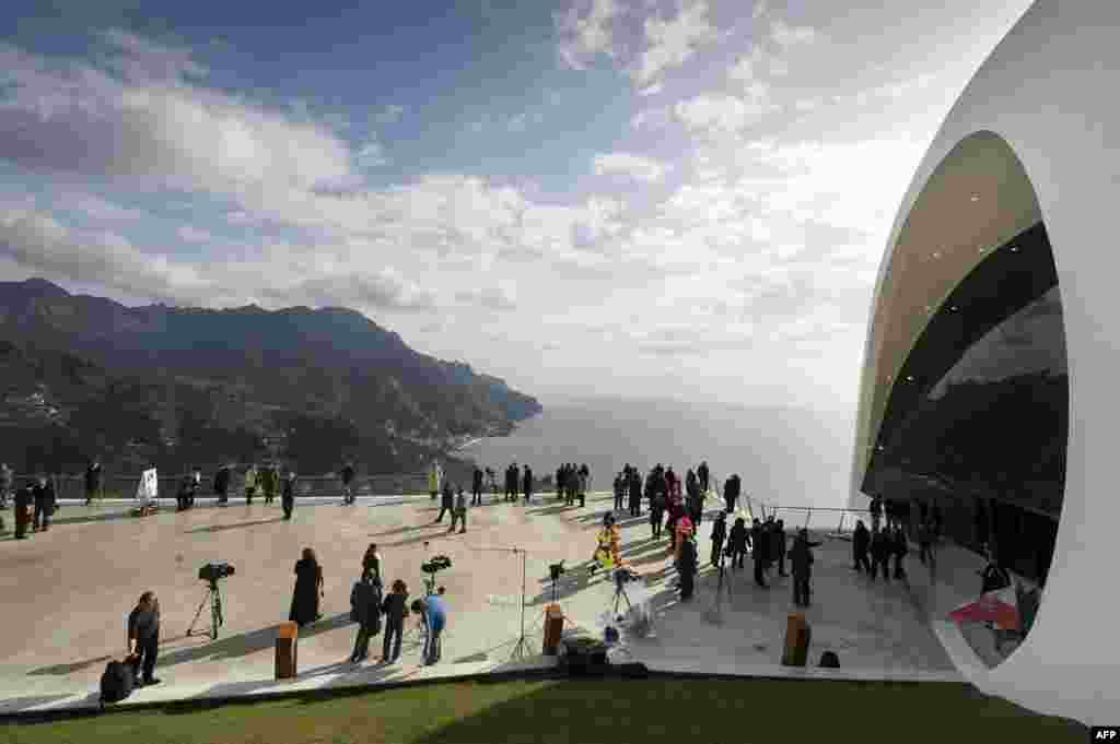The auditorium in the southern Italian town of Ravello on the Amalfi coast was inaugurated in 2009 after ten years of controversy over the design.