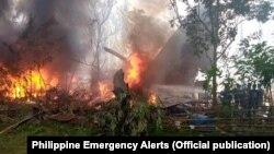 Филипински воен авион се урнал денеска при слетување на островот Џоло
