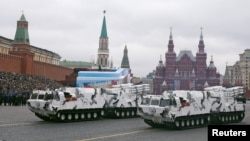 Russia -- Russian TOR-M2 tactical surface-to-air missile systems Arctic edition ride through Red Square during the Victory Day military parade in Moscow, May 9, 2017.