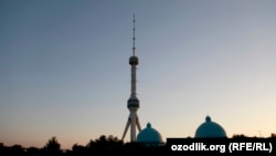 A television tower looms over a section of the Uzbek capital, Tashkent