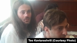 Levan Berianidze (left) and Tornike Kusiani appear in court in Batumi on August 25.