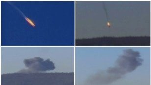 Российский бомбардировщик Су-24, сбитый турецкими ВВС