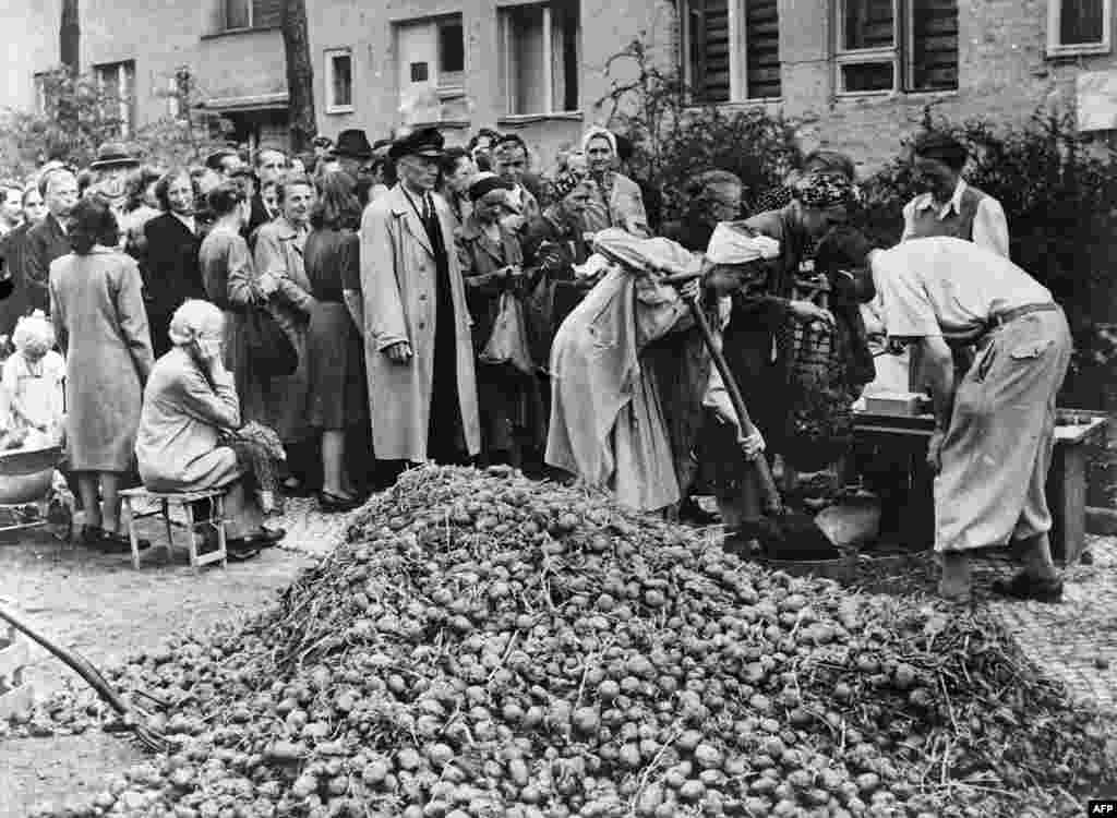 Potatoes being doled out to Berliners. Soviet soup kitchens handed out large amounts of food, but shortages in the immediate aftermath of the war brought many Berliners to the brink of starvation.