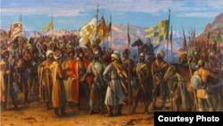 1742 соналда дагъистанияз шушазавуна къажаразул шагь Надир. Шагьбанов МухIамадица бахъараб сурат.