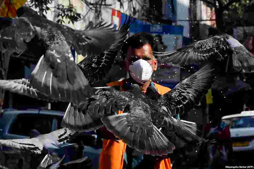A man wearing a face mask feeds pigeons on an empty street in Kolkata, India, during a government-imposed nationwide lockdown amid a coronavirus outbreak (AFP/Dibyangshu Sarkar)