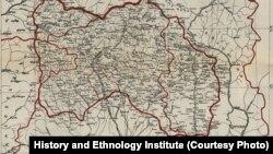 სამხრეთ ოსეთის ყოფილი ავტონომიური ოლქის პირველი რუკა. 1923 წელი.