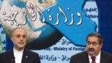 وزيرا الخارجية العراقي هوشيار زيباري والإيراني علي أكبر صالحي في مؤتمر صحفي ببغداد