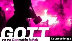 """ADO teatrın yeni tamaşası """"GOTT""""un posteri."""