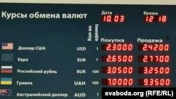 Курсы абмену валютаў у Менску.