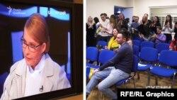 Групу підтримки Юлії Тимошенко «Батьківщина-молода» в студію не пропускають – натомість розміщують перед телевізором в іншій кімнаті